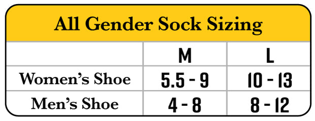 All Gender Sock Size Chart