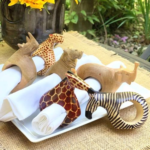 Hand-carved and Fair Trade Mahogany Animal Napkin Rings lifestyle