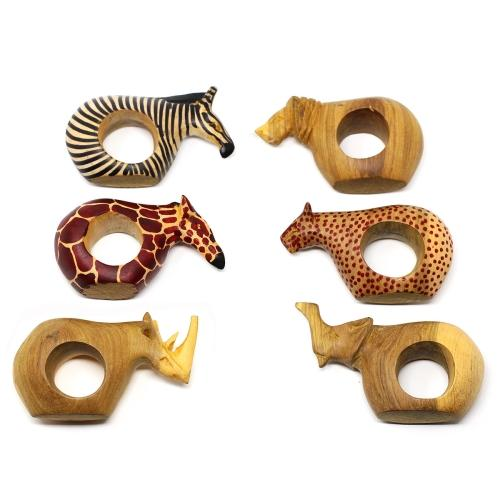 Hand-carved and Fair Trade Mahogany Animal Napkin Rings