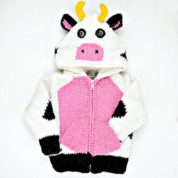 Kid's Cow Face Hooded Zipped Sweater