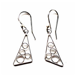 Fair Trade and handmade sterling silver asymmetrical triangle earrings