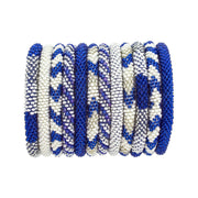 Aid Through Trade Glass bead Roll-On Bracelet-NAVY-WHITE