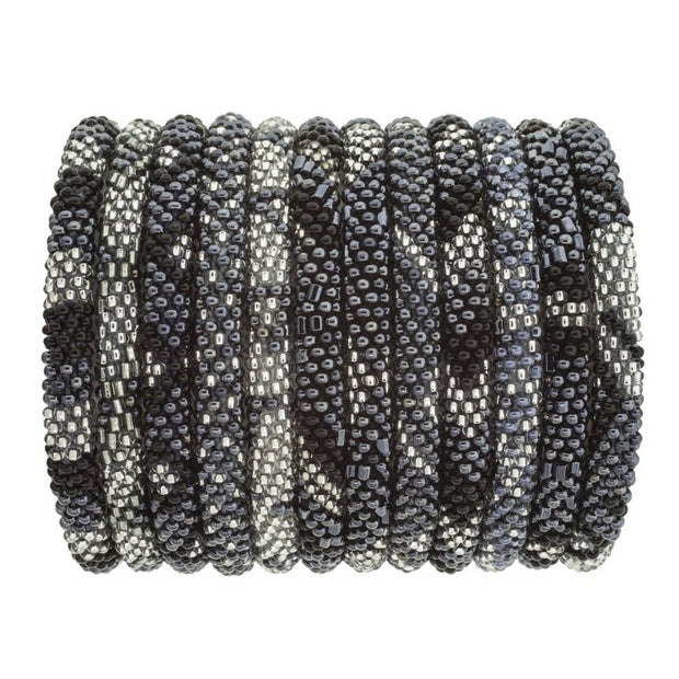 Aid Through Trade Glass bead Roll-On Bracelet-SLATE