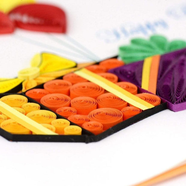 Gifts and Balloons Quilling Card detail