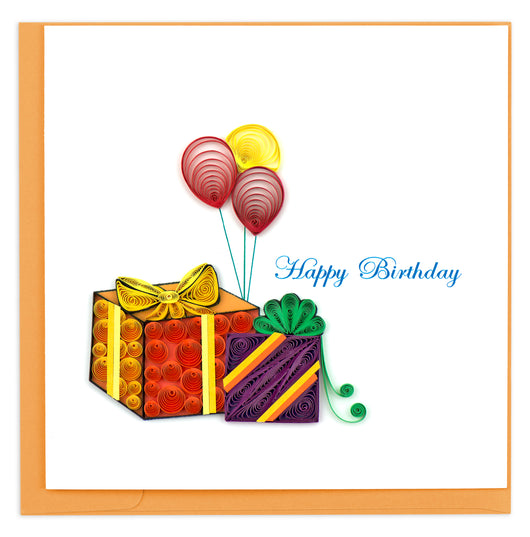 Gifts and Balloons Quilling Card