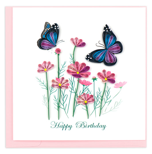 Birthday Flowers and Butterflies Quilling Card
