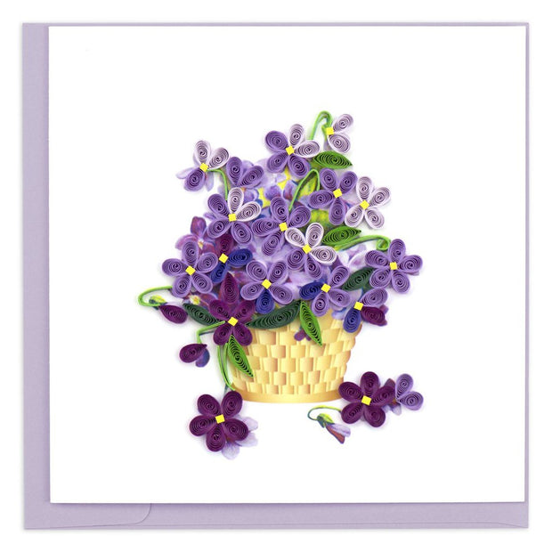 Violets in Basket Quilling Card