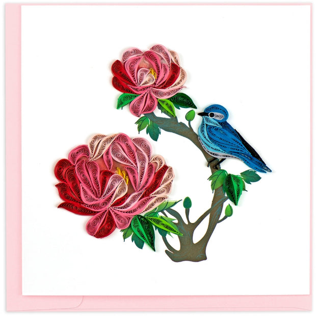 Peony and Blue Bird Quilling Card