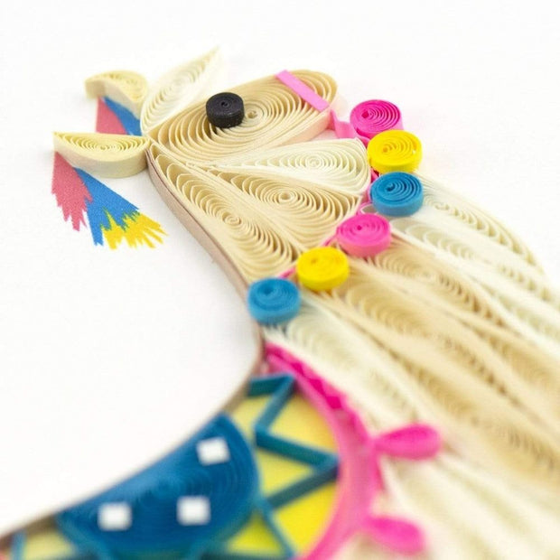 Colorful Llama Quilling All Occasion Card detail