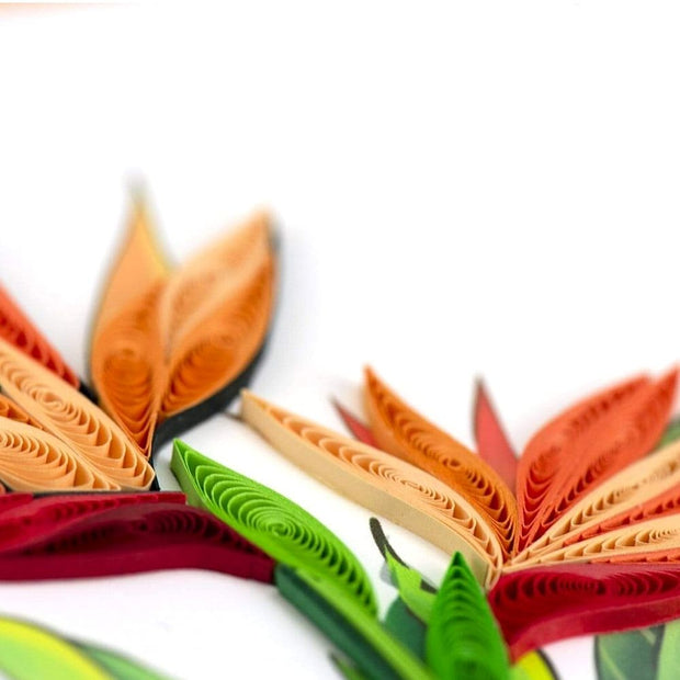 Quilled Bird of Paradise Greeting Card detail