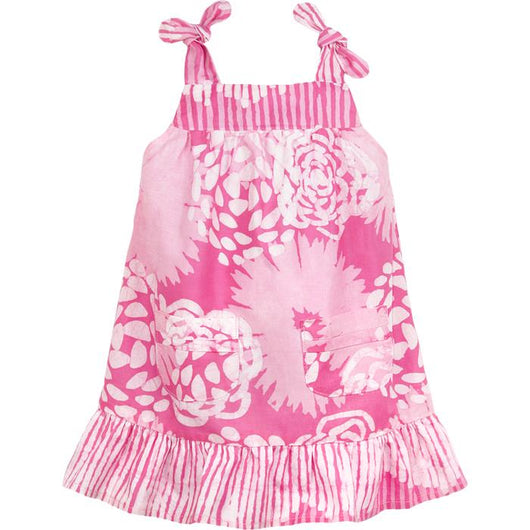 Girls Organic Cotton Pocket Dress - Garden Light Pink