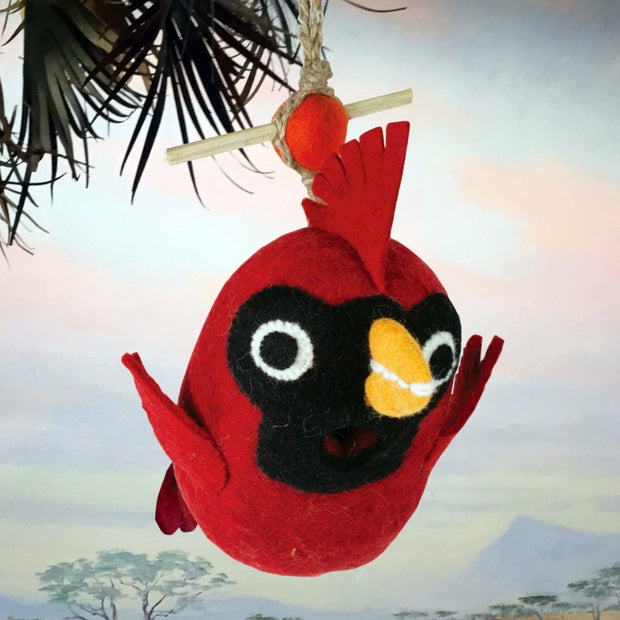 Wild Woolies Felted Wool Birdhouse: Baby Cardinal - outside