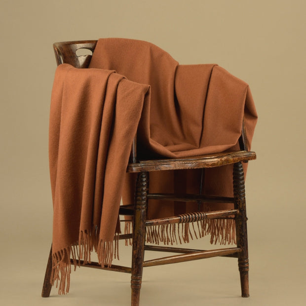 100% Baby Alpaca Fiber Throw - Solid Camel Color