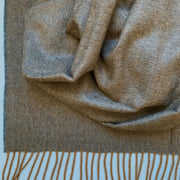 100% Baby Alpaca Throw - Solid Heather Brown Detail