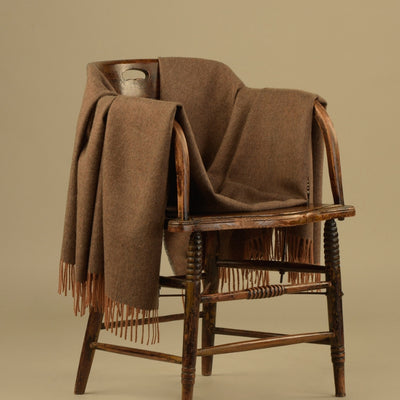 100% Baby Alpaca Throw - Solid Heather Brown
