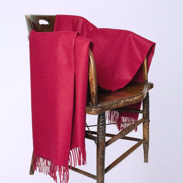 100% Baby Alpaca Fiber Throw - Solid Red Color