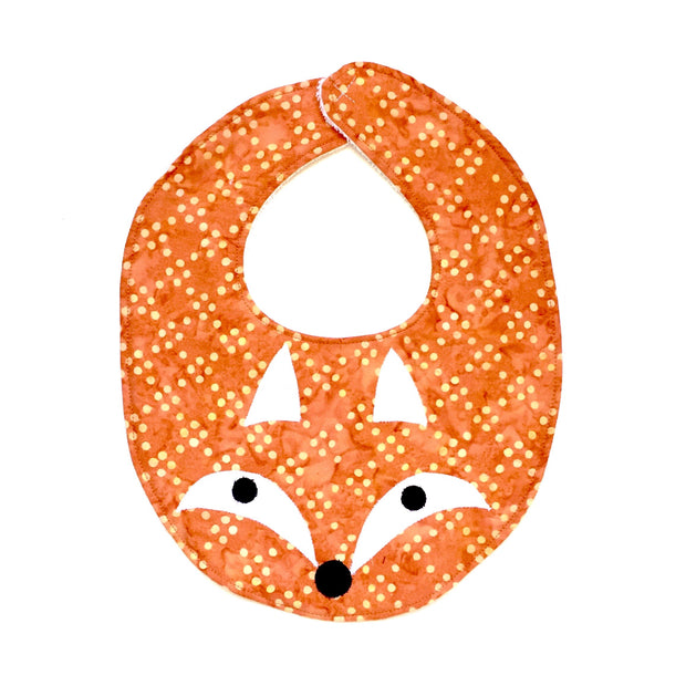 Cotton Batik Fox Applique Bib by Forai St Louis