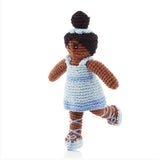 Pebble Ballerina Rattle Toy with Pale Blue Dress