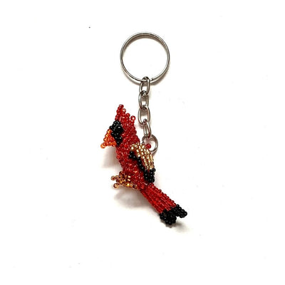 Beaded Keychain Key Ring - Red Cardinal