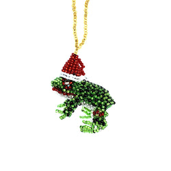 Beaded Ornament - Frog with Santa Hat