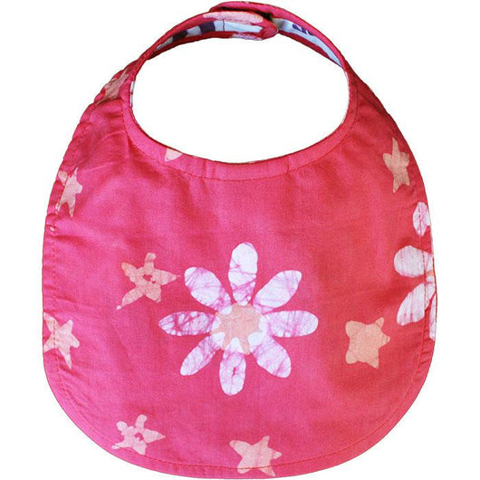 Fair Trade Hand-printed Batik Fabric Bib - Daisy and Stars Papaya