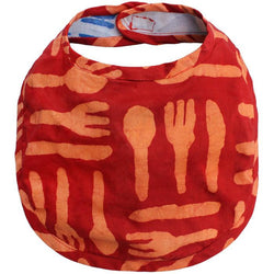 Fair Trade Hand-printed Batik Fabric Bib - Silverware Orange