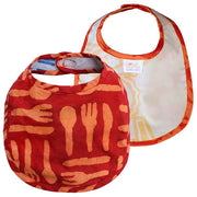 Global Mamas Hand-printed Batik Fabric Bib - Silverware Orange