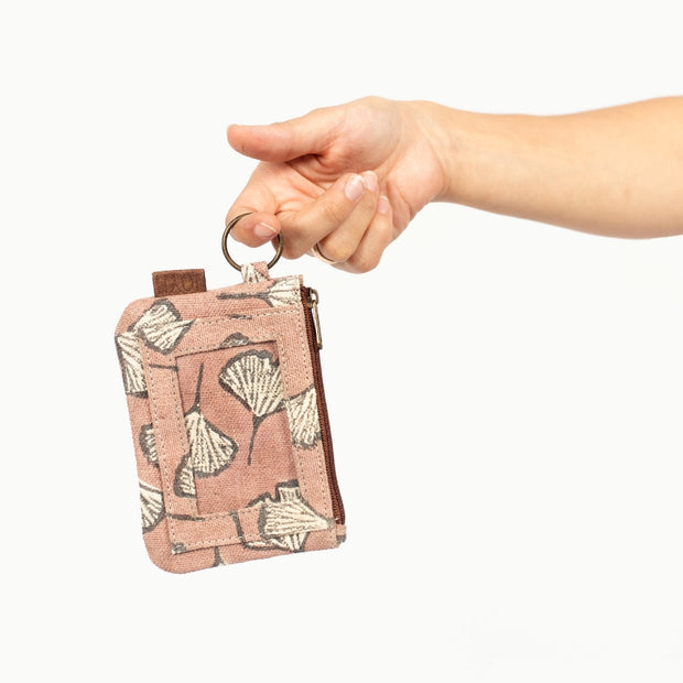 Bimla Printed Cotton ID Pouch - Clay Gingko lifestyle
