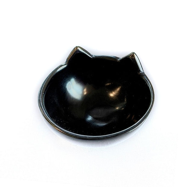 Black Soapstone Small Cat Head Bowl