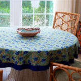 Round Block Printed Cotton Tablecloth with Blue Cornflower Print