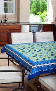 Rectangular Block Printed Cotton Tablecloth with Blue Cornflower Print