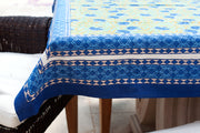 Square Block Printed Cotton Tablecloth with Blue Cornflower Print