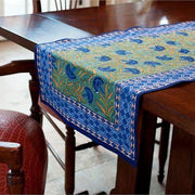 Block Printed Cotton Tablecloth - Blue Cornflower