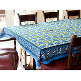70x108 Block Printed Cotton Tablecloth - Blue Green Lotus Flowers