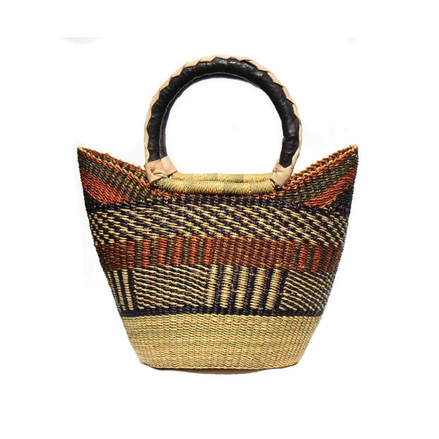 Bolga Mini Shopping Tote Basket with Leather Handles