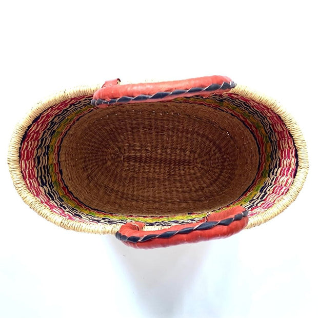 Bolga Oval Basket with Leather Handles interior