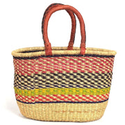 Bolga Oval Basket with Leather Handles
