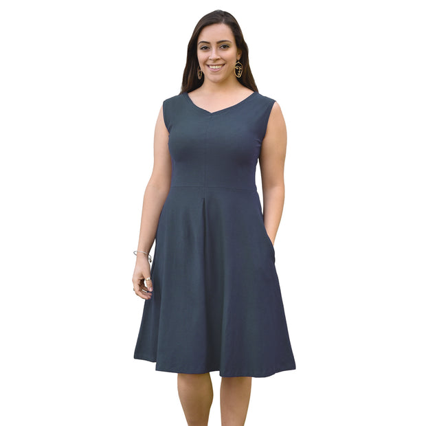 Organic Cotton Box Pleat Dress - Dusty Denim