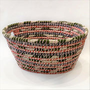 Recycled Sari and Kaisa Grass Laundry Basket Option 4