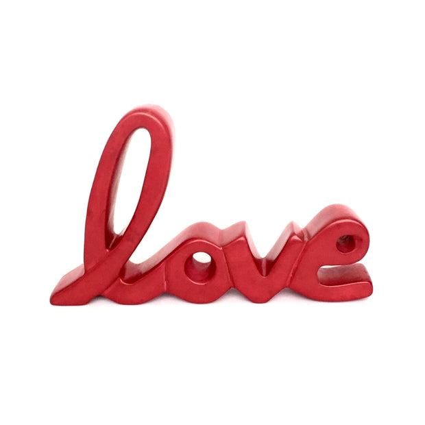 Soapstone Standing Word Decor Sculpture - Love Red