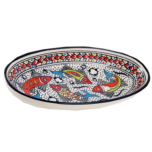 Rainbow Fish Medium Oval Ceramic Platter