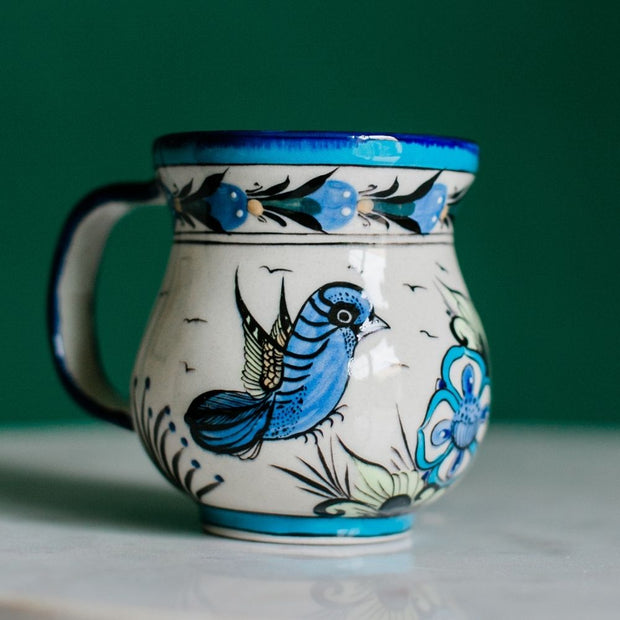 Hand-painted Wild Bird Ceramic Coffee Mug lifestyle