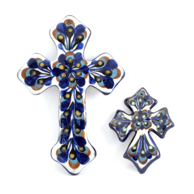 Hand-painted Ceramic Medium Cross next to a small cross for reference