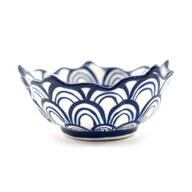 Hand-painted Ceramic Lotus Bowl blue side view