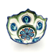 Hand-painted Ceramic Lotus Bowl green and blue