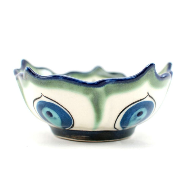 Hand-painted Ceramic Lotus Bowl green side view