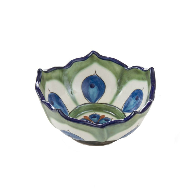 Small Hand-painted Ceramic Lotus Bowl Green and Blue