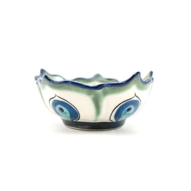 Small Hand-painted Ceramic Lotus Bowl Green and White sideview