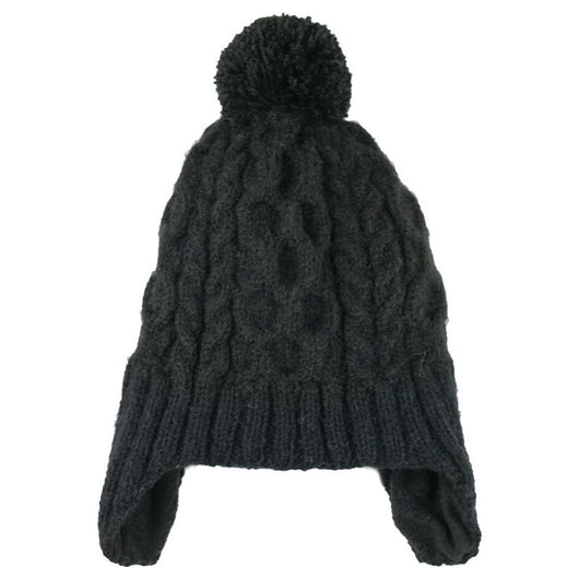 Cable Knit Hat with Ear Flaps - Black