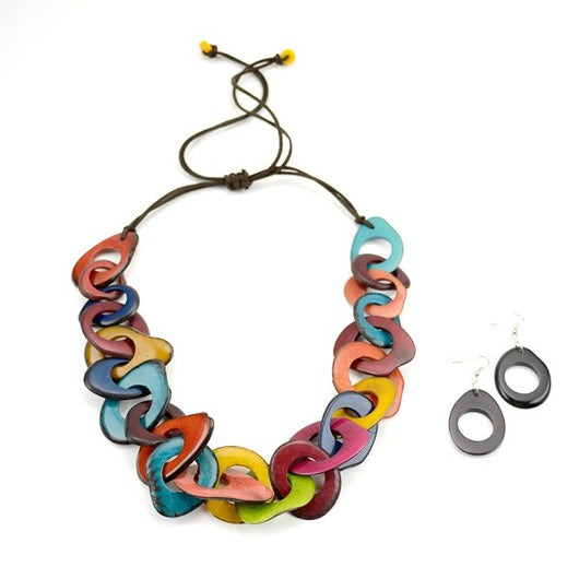 set multicolor nut necklace bib beaded multi necklaces tagua